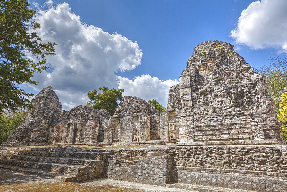 Structure I, Chicanna, Mayan archaeological site, mixture of Chenes and Rio Bec styles, Late Classic Period, Campeche, Mexico, North America