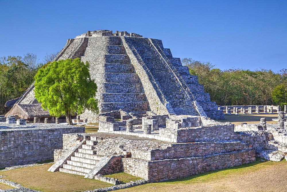 Castillo de Kukulcan, Mayapan, Mayan archaeological site, Yucatan, Mexico, North America