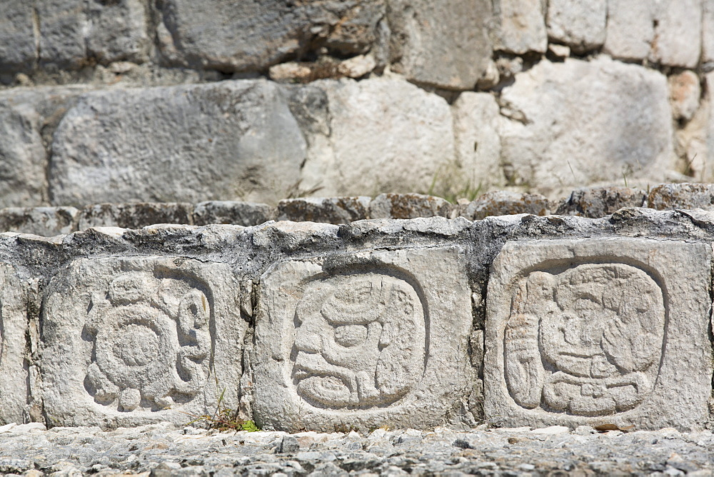 Stone carved Hieroglyphs, Structure of Five Floors (Pisos), Edzna, Mayan archaeological site, Campeche, Mexico, North America