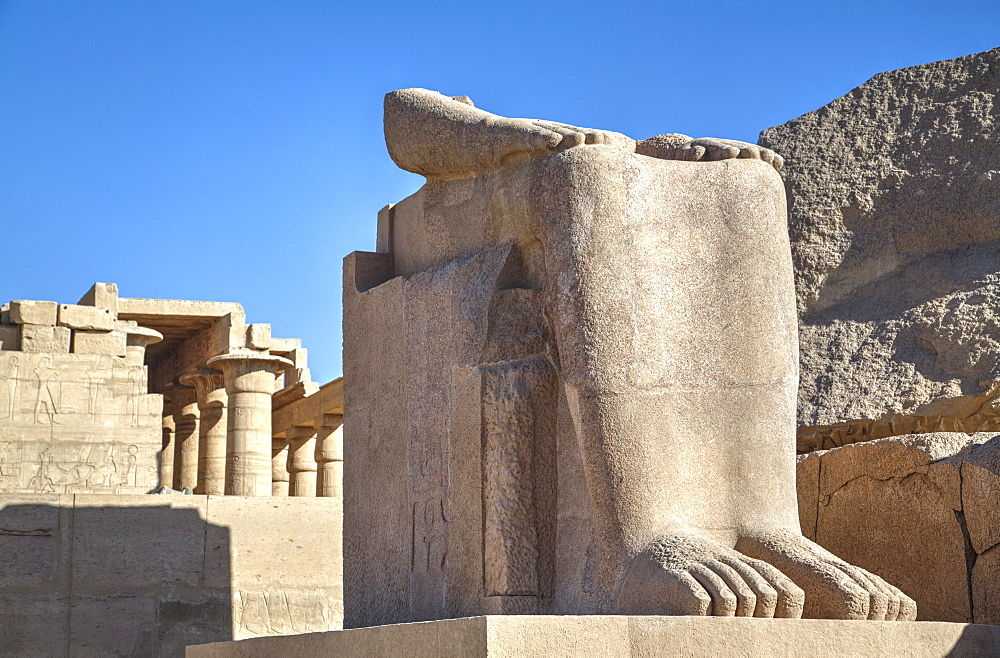 Lower remains of the Colossus of Ramses II, The Ramesseum (Mortuary Temple of Ramese II), Luxor, West Bank, Thebes, UNESCO World Heritage Site, Egypt, North Africa, Africa