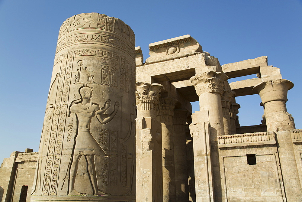 Pillar with bas-relief, Forecourt, Temple of Haroeris and Sobek, Kom Ombo, Egypt, North Africa, Africa - 801-1630