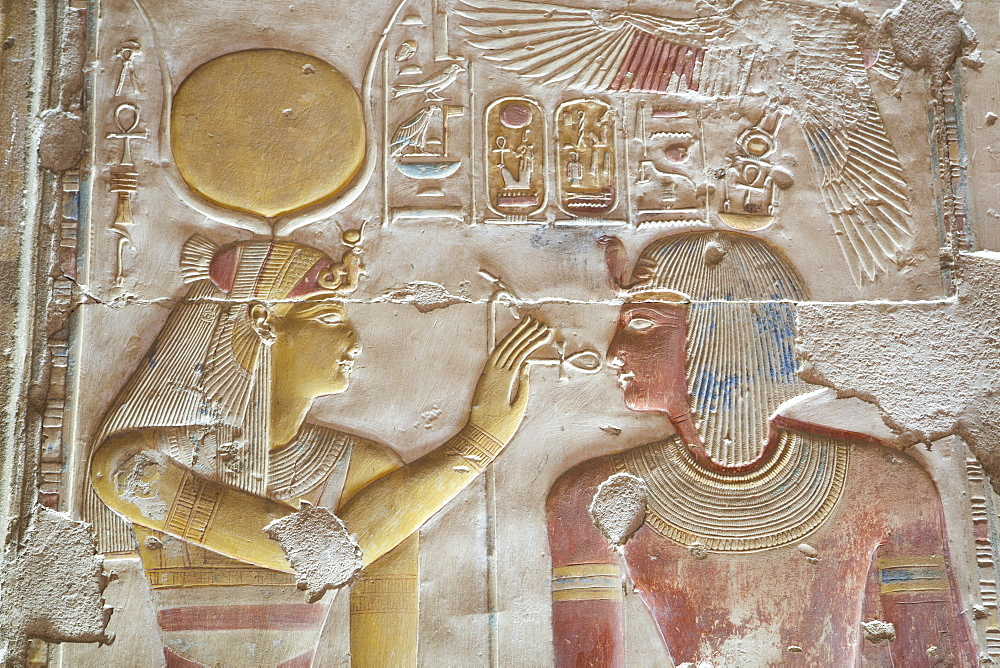 Bas-relief of Pharaoh Seti I on right with the Goddess Hathor on left, Temple of Seti I, Abydos, Egypt, North Africa, Africa