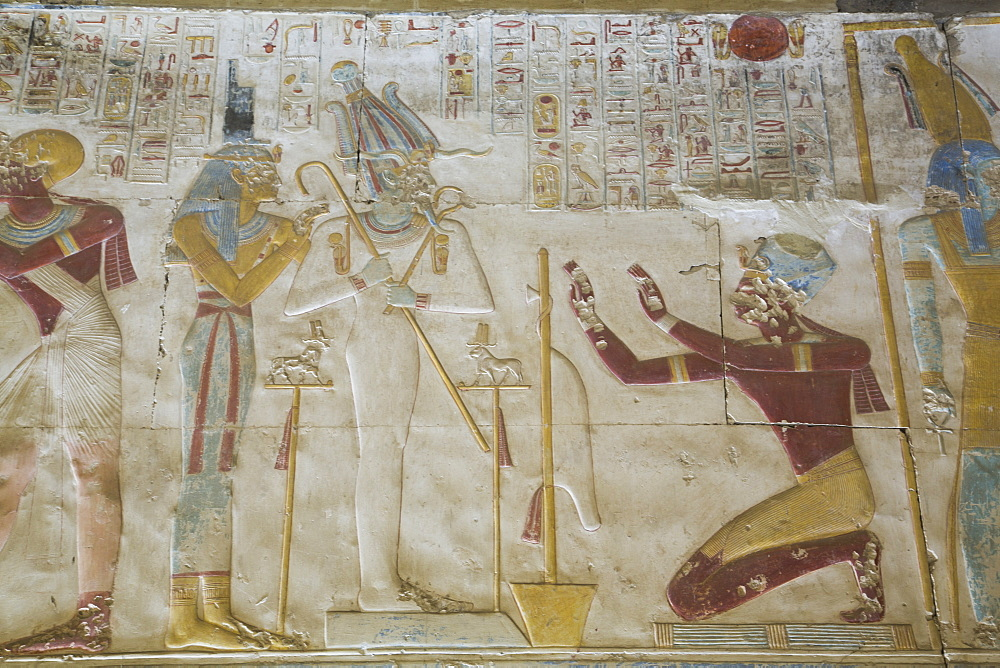 Bas-relief of the kneeling Pharaoh Seti I, Temple of Seti I, Abydos, Egypt, North Africa, Africa