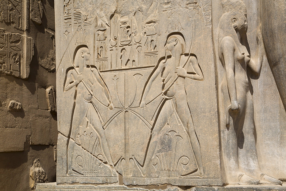 Double image relief of Ramses II, Luxor Temple, Luxor, Thebes, UNESCO World Heritage Site, Egypt, North Africa, Africa