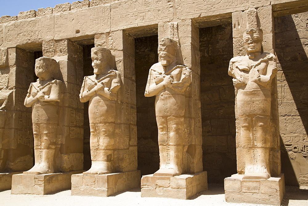 Osiride statues of Ramses III, Ramses III Temple, Karnak Temple, Luxor, Thebes, UNESCO World Heritage Site, Egypt, North Africa, Africa
