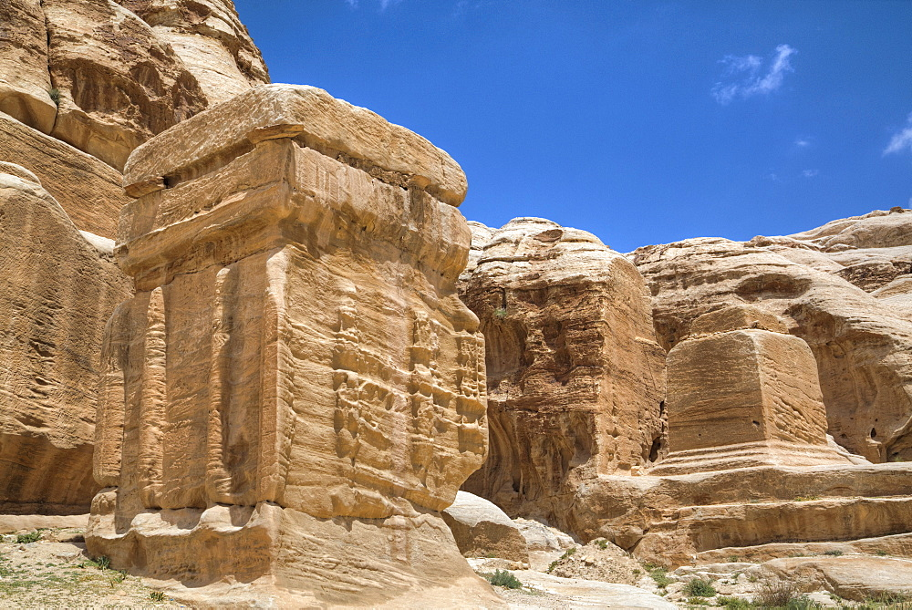 Djinn Blocks, dating from between 50 BC and 50 AD, Petra, UNESCO World Heritage Site, Jordan, Middle East