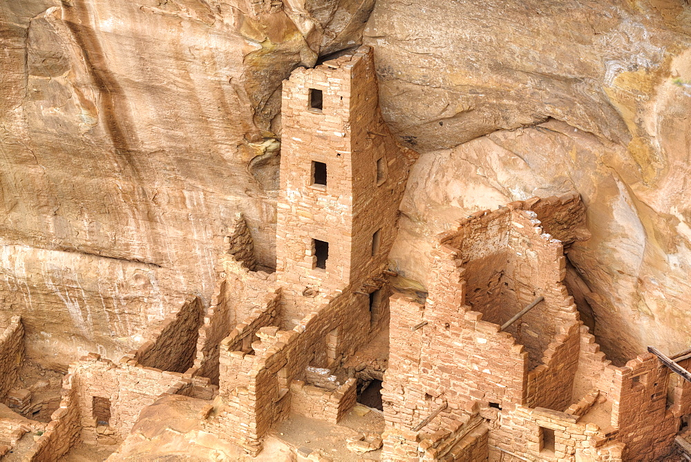 Anasazi Ruins, Square Tower House, dating from between 600 AD and 1300 AD, Mesa Verde National Park, UNESCO World Heritage Site, Colorado, United States of America, North America