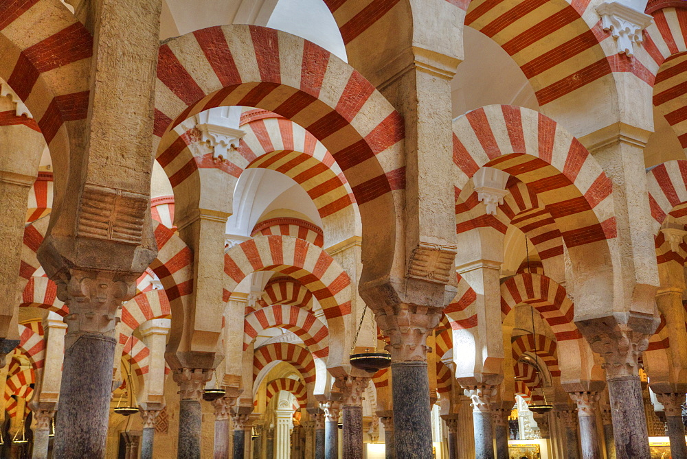 Arches and columns, The Great Mosque (Mesquita) and Cathedral of Cordoba, UNESCO World Heritage Site, Cordoba, Andalucia, Spain, Europe