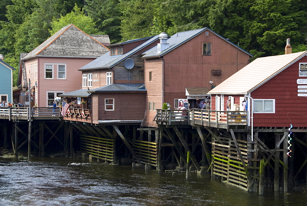 Shops along the boardwalk, Creek Street, Ketchikan, Alaska, United States of America, North America