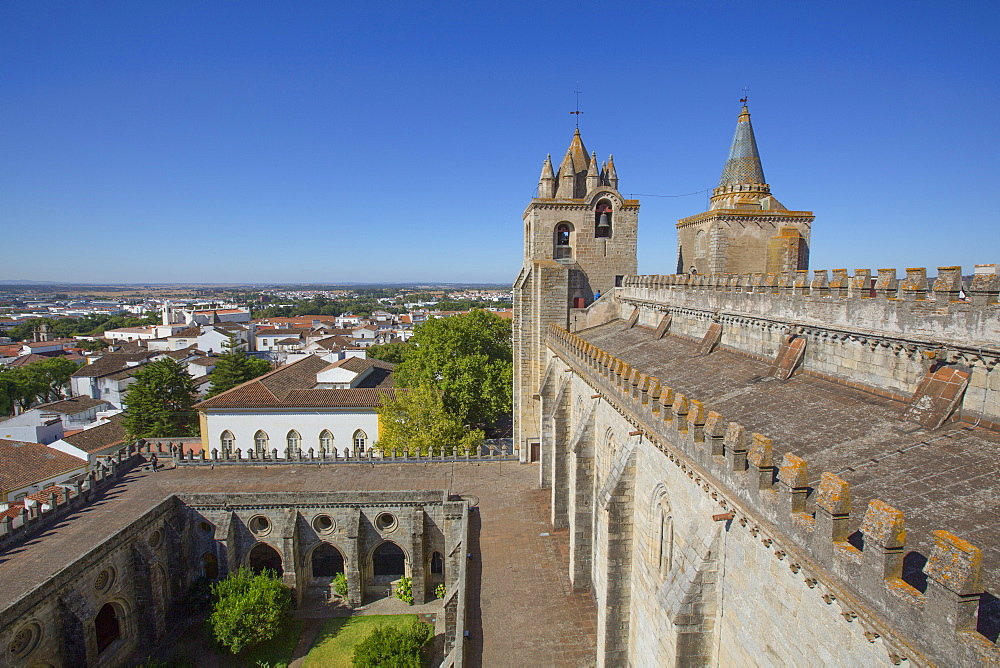 Towers, view from the roof, Evora Cathedral, Evora, UNESCO World Heritage Site, Portugal, Europe