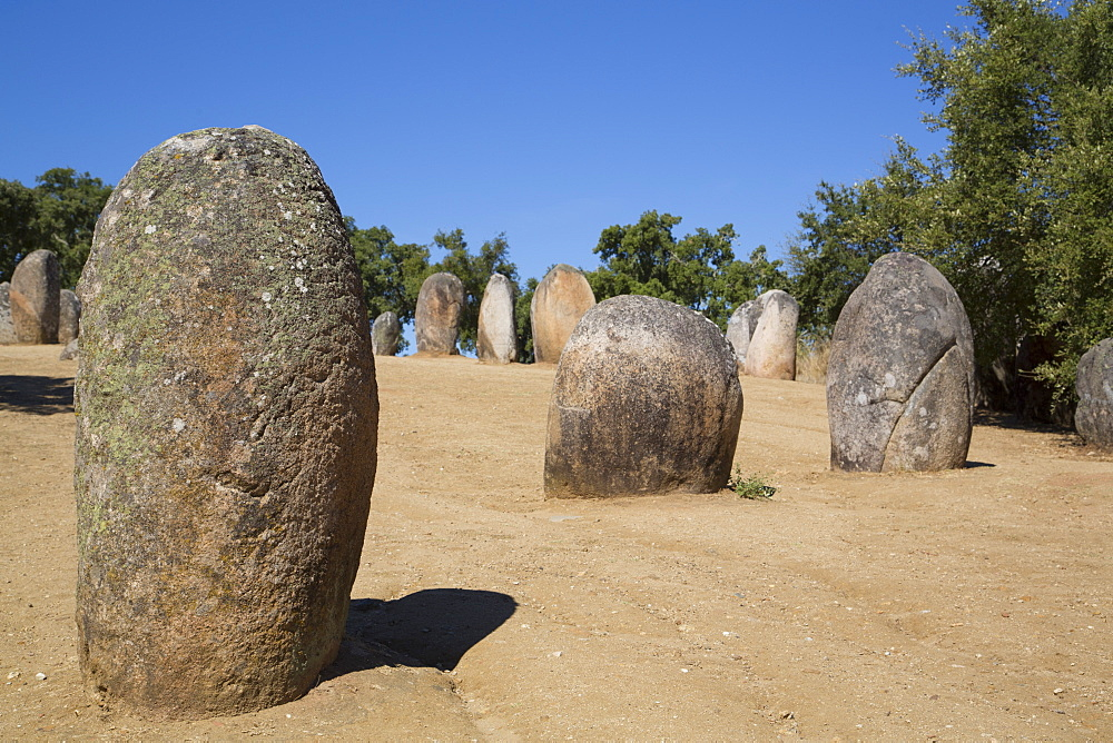 Megalithic stone-circles, 5000 to 4000 BC, Almendres Cromlech, near Evora, Portugal, Europe