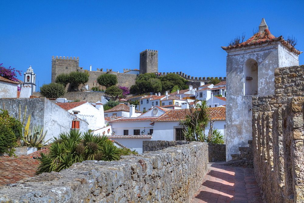 City Overview with Wall and Medieval Castle (background), Obidos, UNESCO World Heritage Site, Portugal