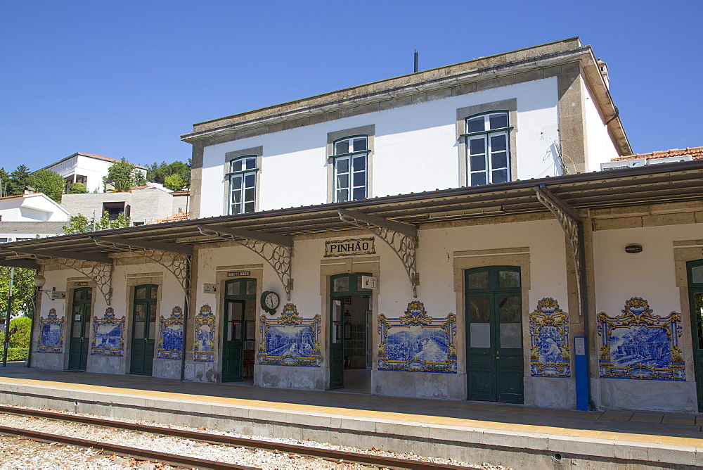 Tile paintings, Pinhao Railroad Station, Alto Douro Wine Valley, UNESCO World Heritage Site, Portugal, Europe