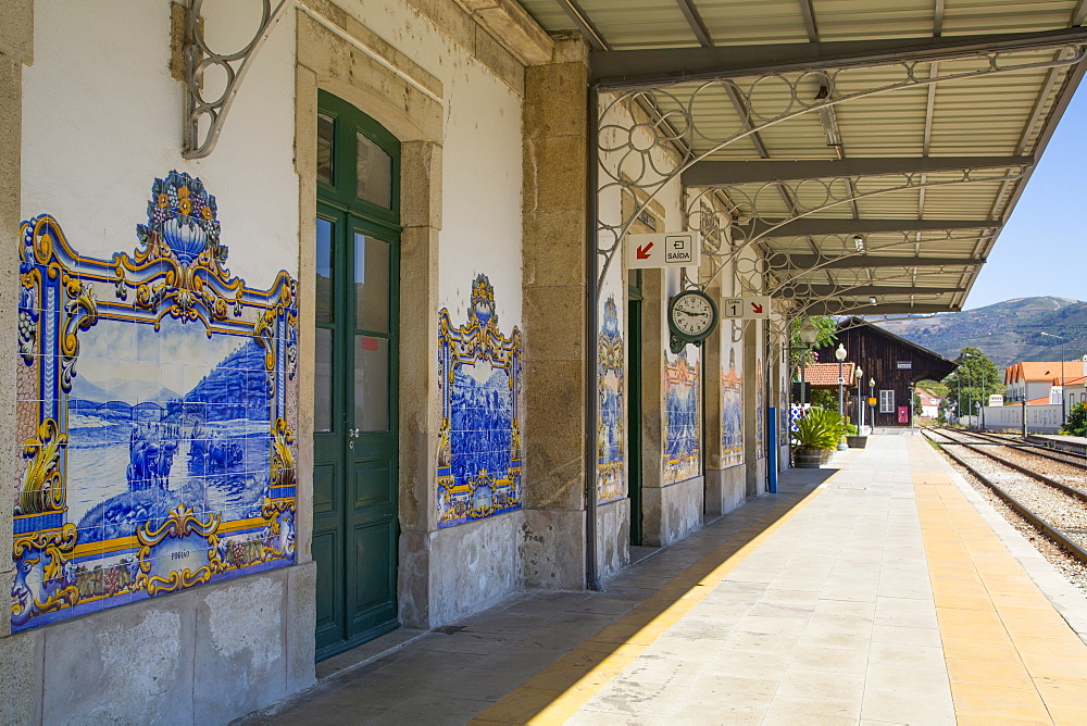 Tile paintings, Pinhao Railroad Station, Alto Douro Wine Valley, UNESCO World Heritage Site, Portugal, Europe - 801-1983