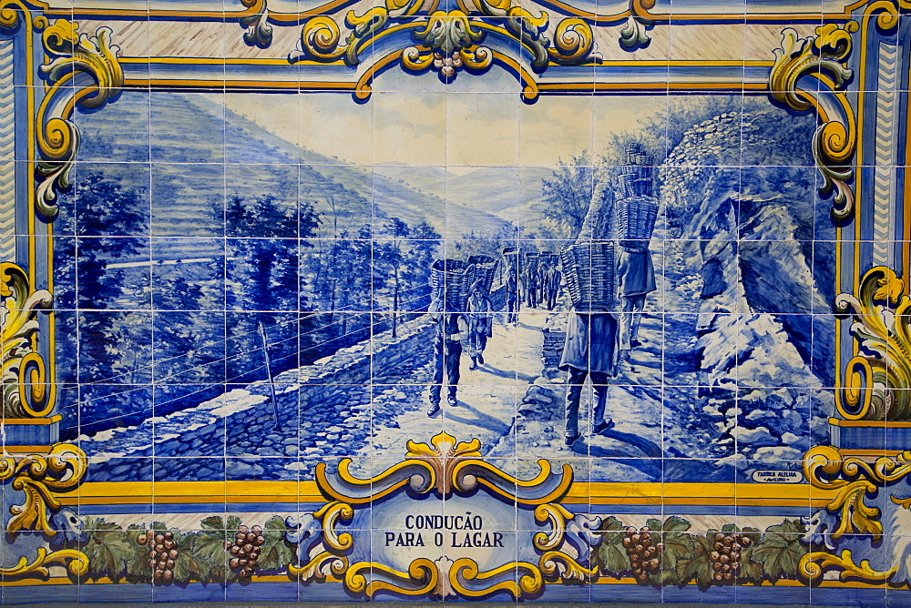 Tile painting (azulejos), Pinhao Railroad Station, Alto Douro Wine Valley, UNESCO World Heritage Site, Portugal, Europe