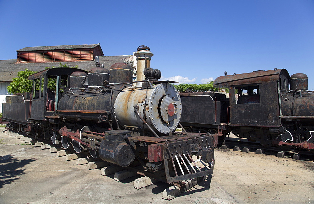 Old Steam Sugar Locomotives, Cienfuegos City, UNESCO World Heritage Site, Cienfuegos, Cuba, West Indies, Central America