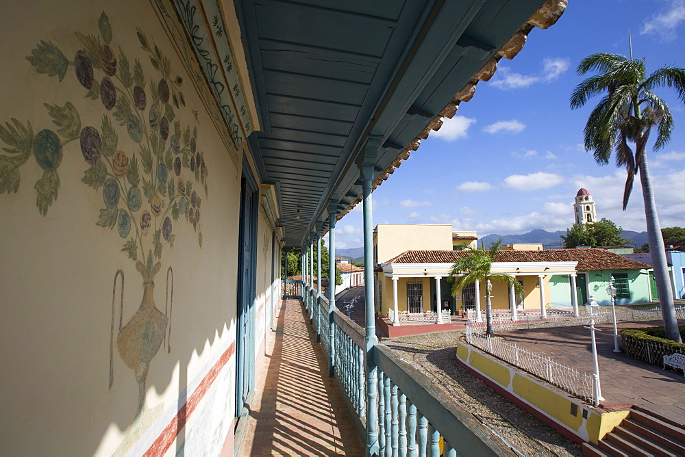 Murals on Outside Wall, Universal Benito Ortiz Galeria de Arte, Trinidad, UNESCO World Heritage Site, Sancti Spiritus, Cuba, West Indies, Central America