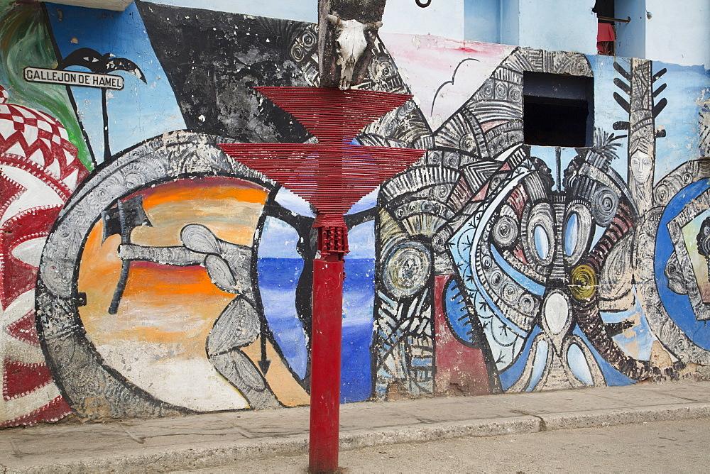 Murals by Salvador Gonzalez, Callejon de Hamel, Centro Habana, Havana, Cuba, West Indies, Central America