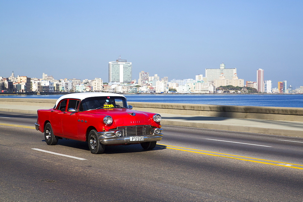 Vintage 1956 Buick on the Malecon, Centro Habana, Havana, Cuba, West Indies, Central America