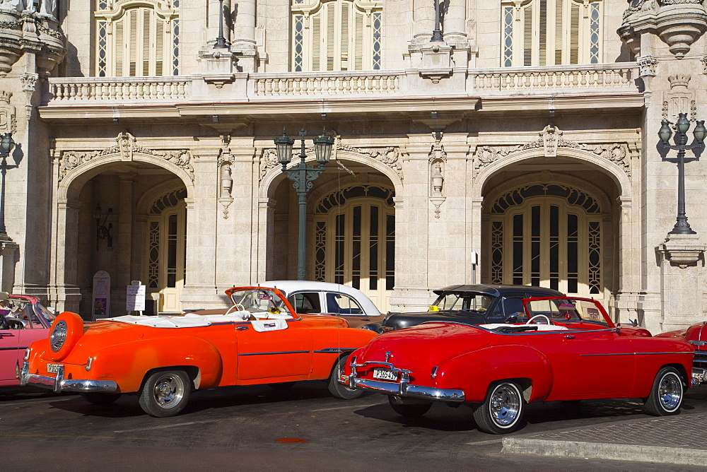 Vintage Cars in front of Grand Theater, Centro Habana, Havana, Cuba - 801-2075