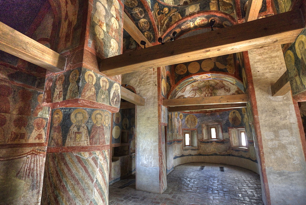 Frescos, Cathedral of the Nativity, Zverin Monastery, UNESCO World Heritage Site, Veliky Novogrod, Novgorod Oblast, Russia