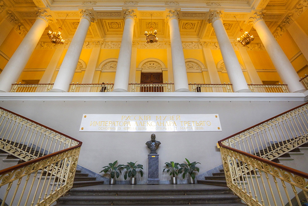 Grand Staircase, Russian Museum (Mikhailovsky Palace), UNESCO World Heritage Site, St. Petersburg, Russia, Europe