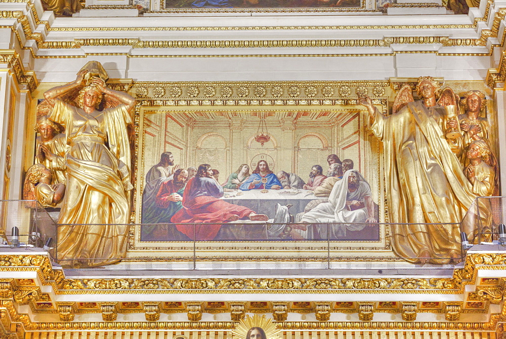 Interior fresco of The Last Supper, St. Isaac's Cathedral, UNESCO World Heritage Site, St. Petersburg, Russia, Europe