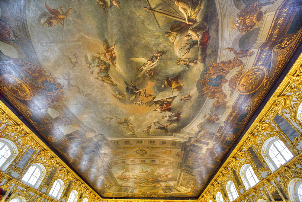 Ceiling paintings, The Great Hall, Catherine Palace, Tsarskoe Selo, Pushkin, UNESCO World Heritage Site, Russia, Europe