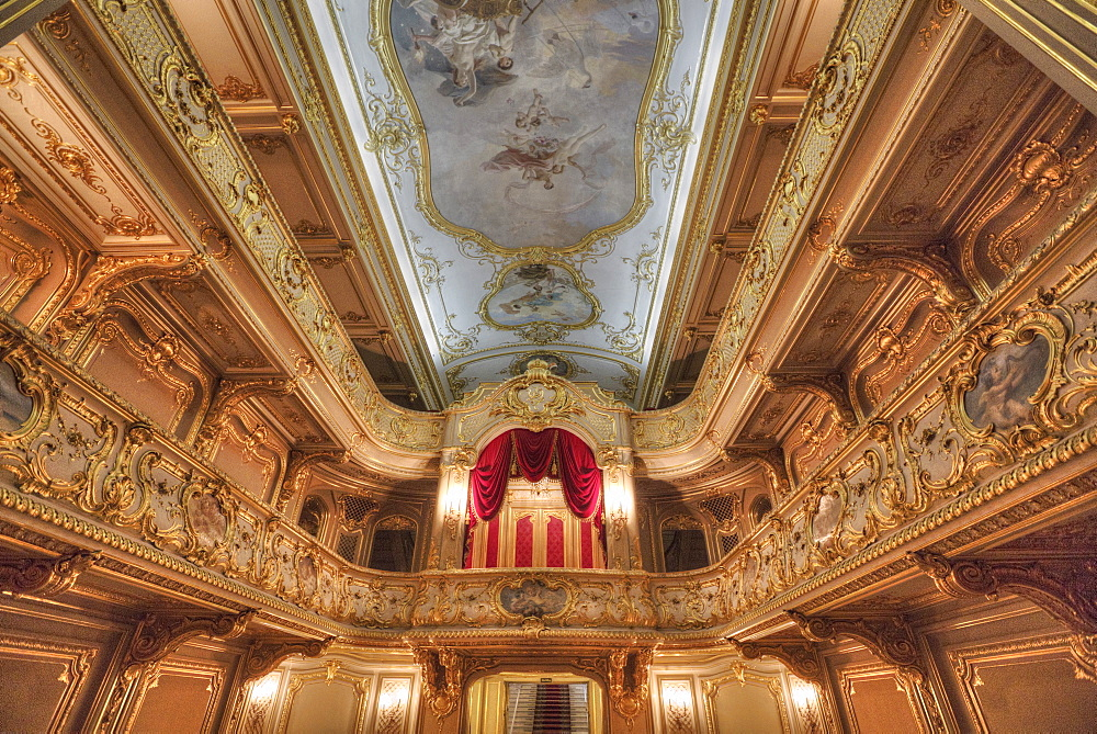 Theater with ceiling frescos, Yusupov Palace on the Moika, St. Petersburg, Russia, Europe