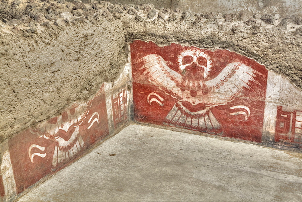 Wall Mural of Eagles, Palace of Tetitla, Teotihuacan Archaeological Zone, UNESCO World Heritage Site, State of Mexico, Mexico, North America