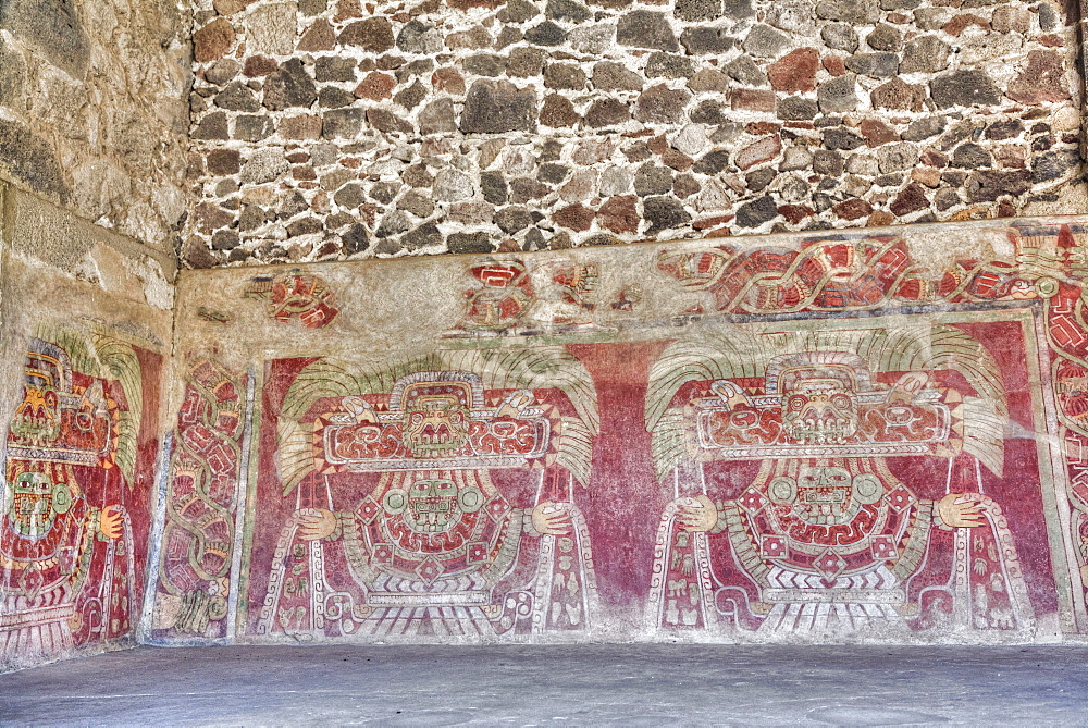Wall Mural of the Jade Goddess (Thaloc), Palace of Tetitla, Teotihuacan Archaeological Zone, UNESCO World Heritage Site, State of Mexico, Mexico, North America