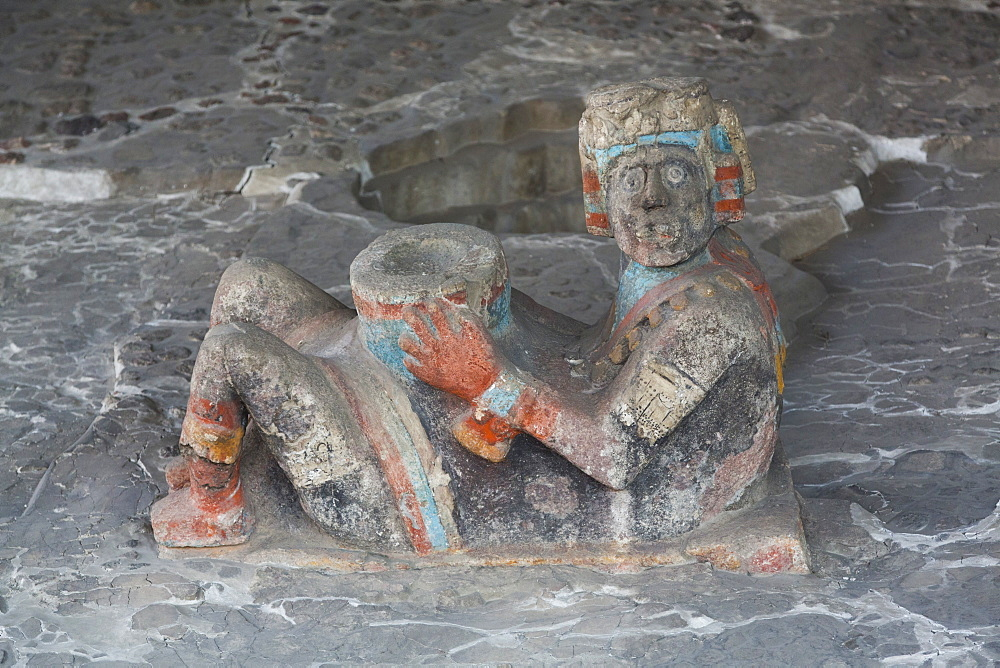 Chac-mool sculpture, dating from approximately 1350 AD, Templo Mayor, Mexico City, Mexico, North America