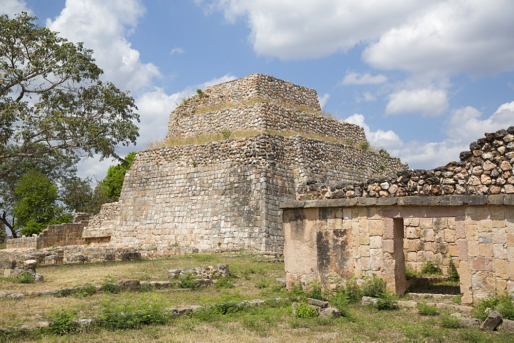 Mayan Ruins, Structure CA-4, Oxkintok Archaeological Zone, 300 to 1050 AD, Yucatan, Mexico, North America