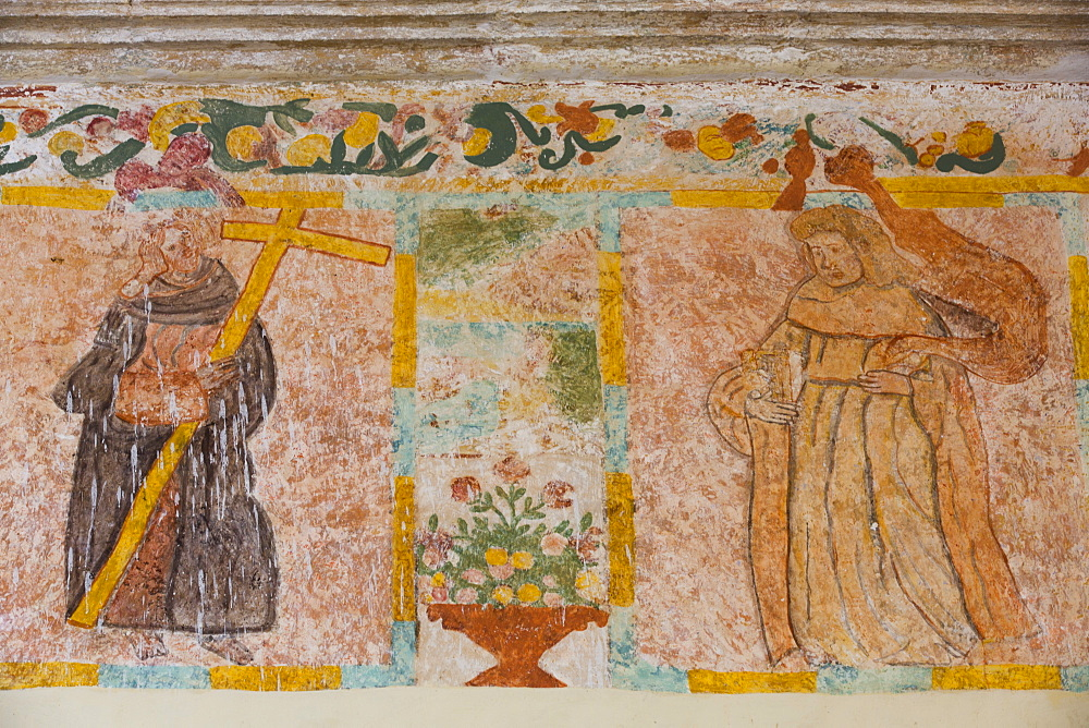Original frescoes, Former Convent, Church of San Pedro Y San Pablo, 1650, Teabo, Route of the Convents, Yucatan, Mexico, North America
