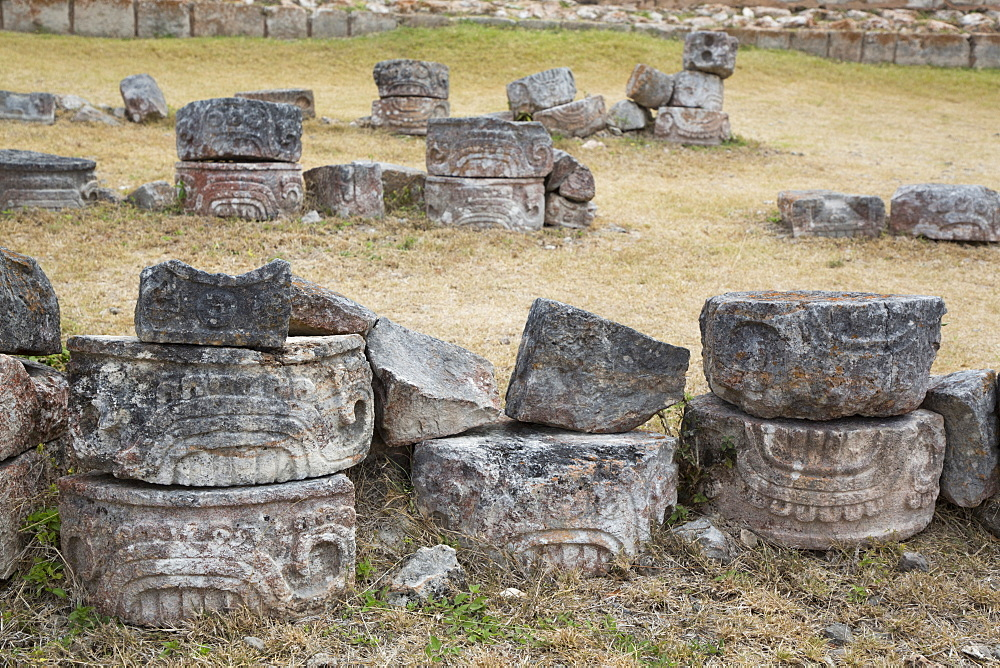Carved Stones, Kabah Archaeological Site, Mayan Ruins, Puuc style, Yucatan, Mexico, North America
