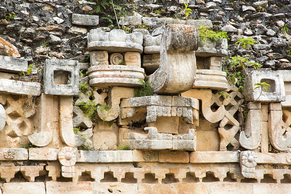 Chac Rain God Mask, Palace, Labna Archaeological Site, Mayan Ruins, Puuc style, Yucatan, Mexico, North America - 801-2306