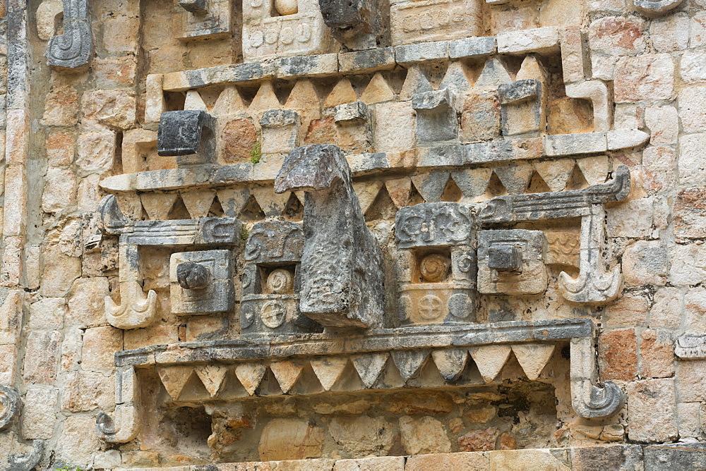 Chac Rain God Stone Mask, Palace, Xlapak Archaeological Site, Mayan Ruins, Puuc style, Yucatan, Mexico, North America - 801-2311