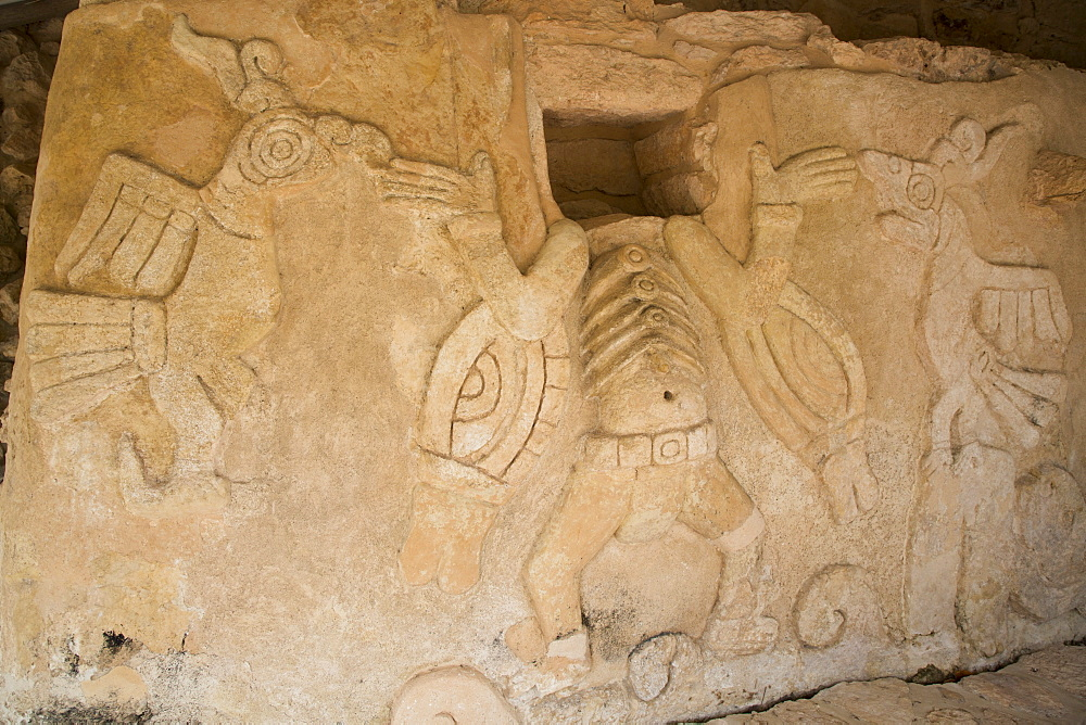 Stucco reliefs, Castle of Kukulcan, Mayan Ruins, Mayapan Archaeological Site, Yucatan, Mexico, North America