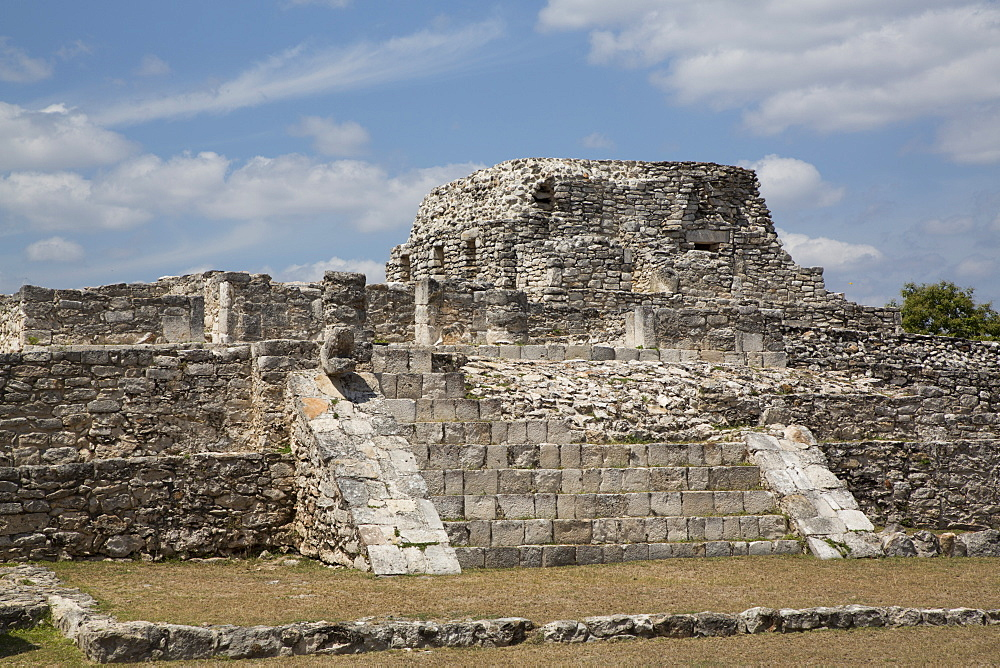 Temple of Warriors in the foreground, Painted Niches Temple in the background, Mayan Ruins, Mayapan Archaeological Site, Yucatan, Mexico, North America