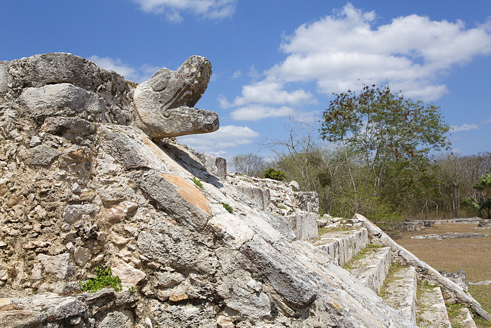 Serpent Head, Temple of Warriors, Mayan Ruins, Mayapan Archaeological Site, Yucatan, Mexico, North America