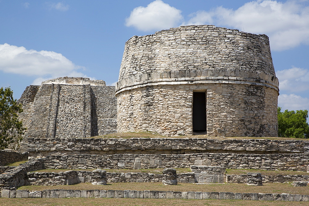 Observatory in foreground), Kukulcan Castle in background, Mayan Ruins, Mayapan Archaeological Site, Yucatan, Mexico, North America