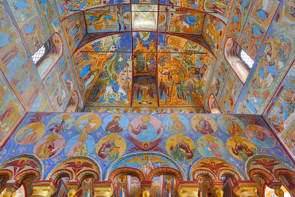 Frescoes, Resurrection of Christ Gate Church, Kremlin, Rostov Veliky, Golden Ring, Yarsolavl Oblast, Russia, Europe