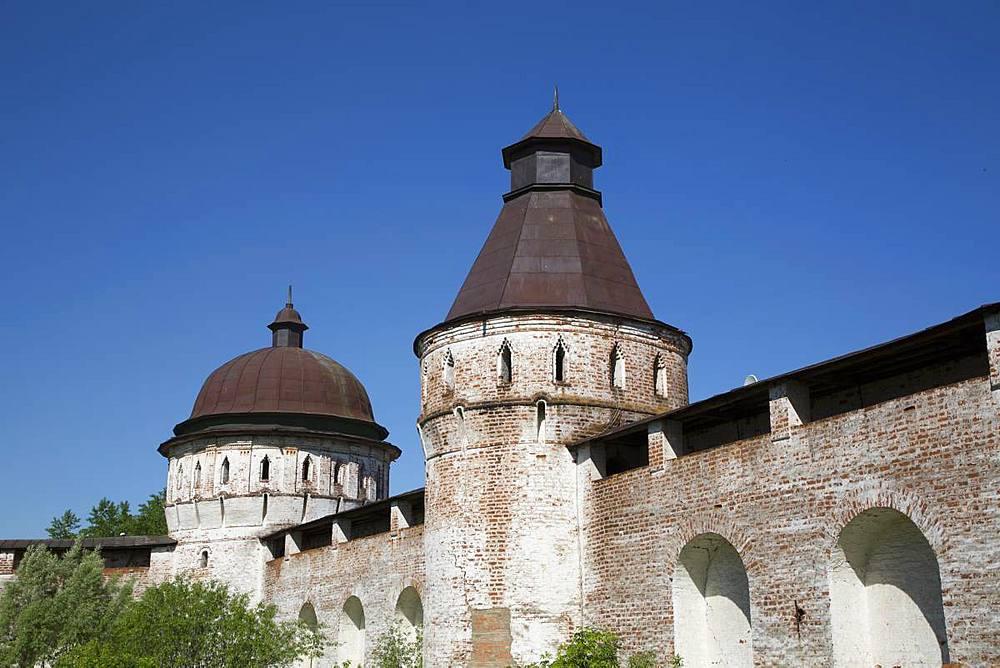 Towers and Walls, Boris and Gleb Monastery, Borisoglebsky, Golden Ring, Yaroslavl Oblast, Russia, Europe - 801-2337