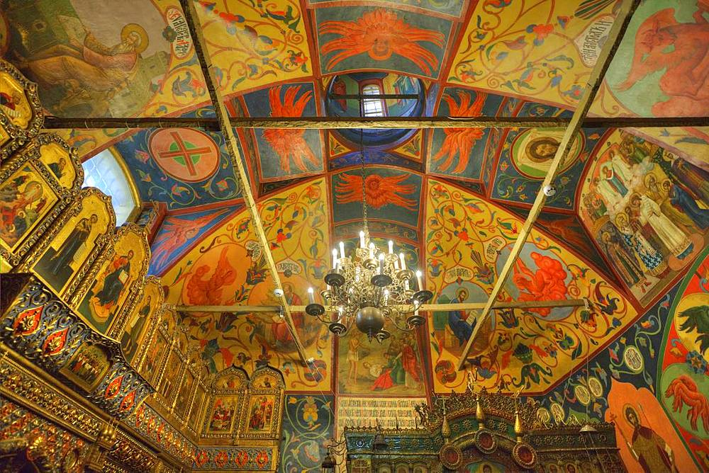 Ceiling frescoes, St. Basil's Cathedral, Red Square, UNESCO World Heritage Site, Moscow, Russia, Europe