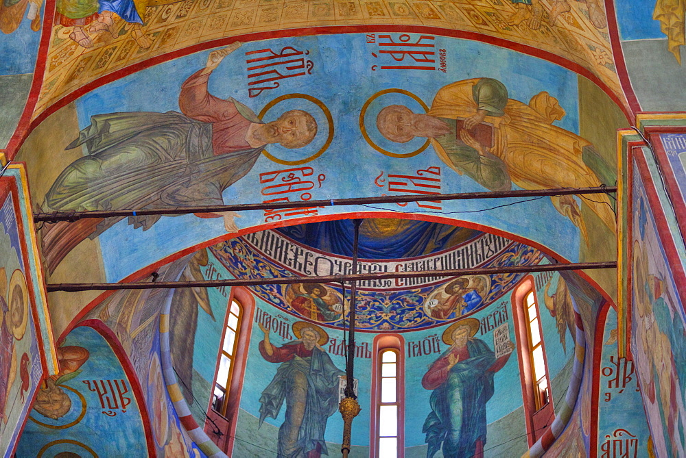 Frescoes, Holy Dormition Cathedral, The Holy Trinity Saint Serguis Lavra, UNESCO World Heritage Site, Sergiev Posad, Russia