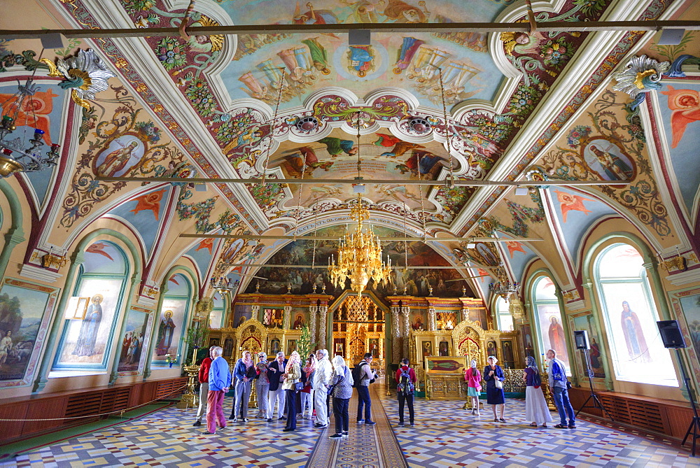 Tourists, frescoes, St. Sergius Church, Holy Trinity Saint Sergius Lavra, UNESCO World Heritage Site, Sergiev Posad, Russia, Europe