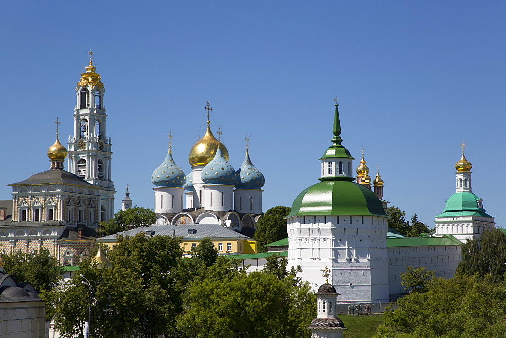 Overview, The Holy Trinity Saint Sergius Lavra, UNESCO World Heritage Site, Sergiev Posad, Russia, Europe - 801-2405