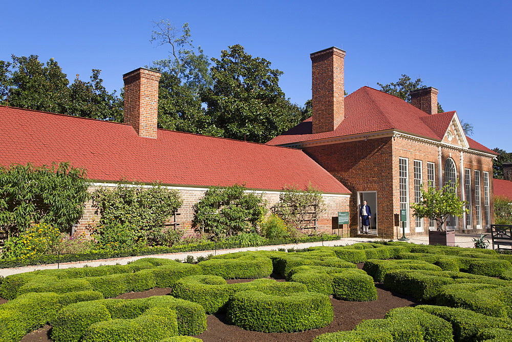 Green House on right, Slave Quarters on left, Upper Garden in foreground, Mount Vernon, Virginia, United States of America, North America - 801-2440