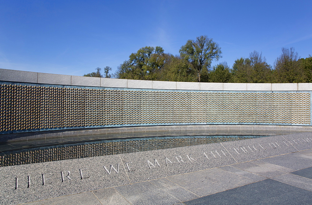 Gold Stars on the Price of Freedom Wall, World War II Memorial, Washington D.C., United States of America, North America