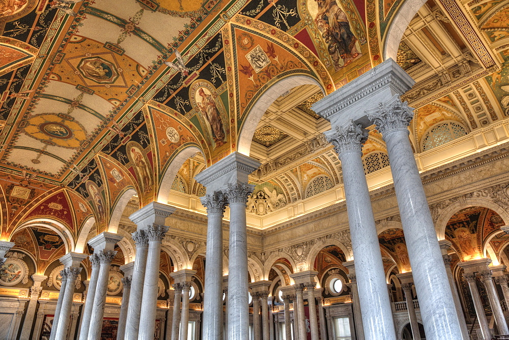 Ceiling and walls, Mezzanine of the Great Hall, Library of Congress, Washington D.C., United States of America, North America - 801-2457